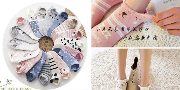 Красивые носки с мордашками и ушками
