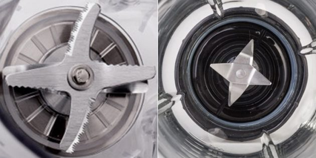 Как выбрать блендер: Прямой нож (слева) хуже измельчает продукты, чем изогнутый (справа)