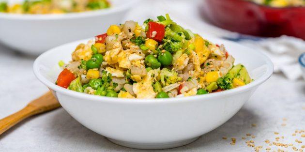 Блюда из овощей: Цветная капуста, жаренная с овощами и яйцами