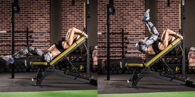 Упражнения для нижнего пресса на наклонной скамье