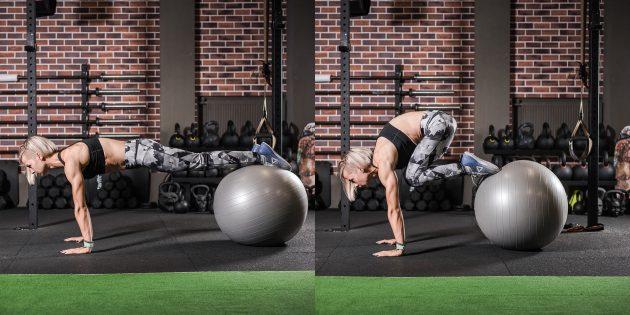 Упражнения для нижнего пресса на фитболе