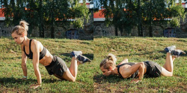 Тренировка на улице: Отжимания с колен