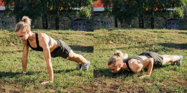 Тренировка на улице: Классические отжимания