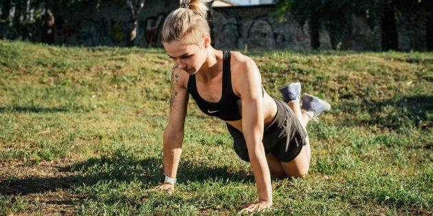 Тренировка на улице: Планка на коленях