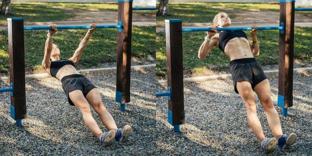 Тренировка на улице: Австралийские подтягивания