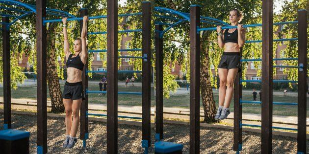 Тренировка на улице: Обратный хват