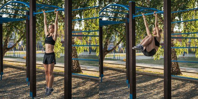 Тренировка на улице: Подъём коленей к груди