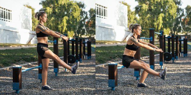 эффективные упражнения: Приседание «пистолетик» на возвышенность