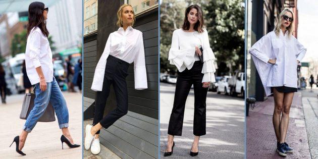 9 стильных белых рубашек и беспроигрышные образы с ними