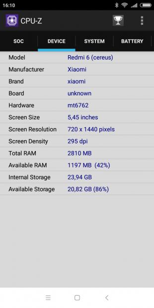 Xiaomi Redmi 6: CPU-Z