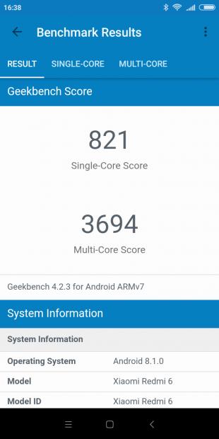 Xiaomi Redmi 6: GeekBench