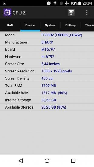 Sharp Z2: CPU-Z