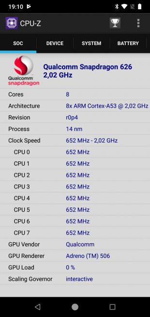 XiaomiMiA2Lite: CPU-Z