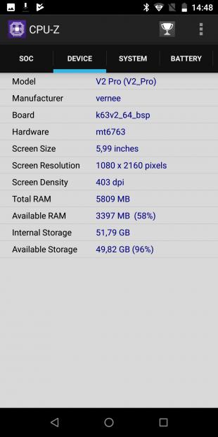 Vernee V2 Pro: CPU-Z