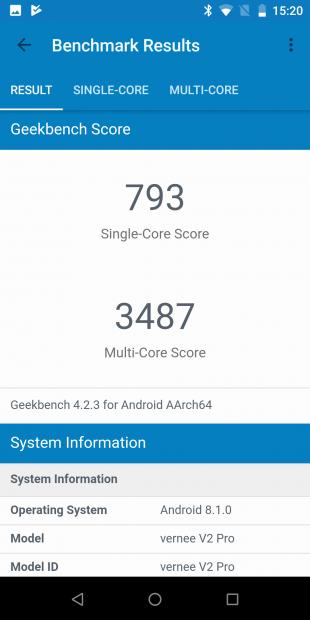 VerneeV2Pro: GeekBench