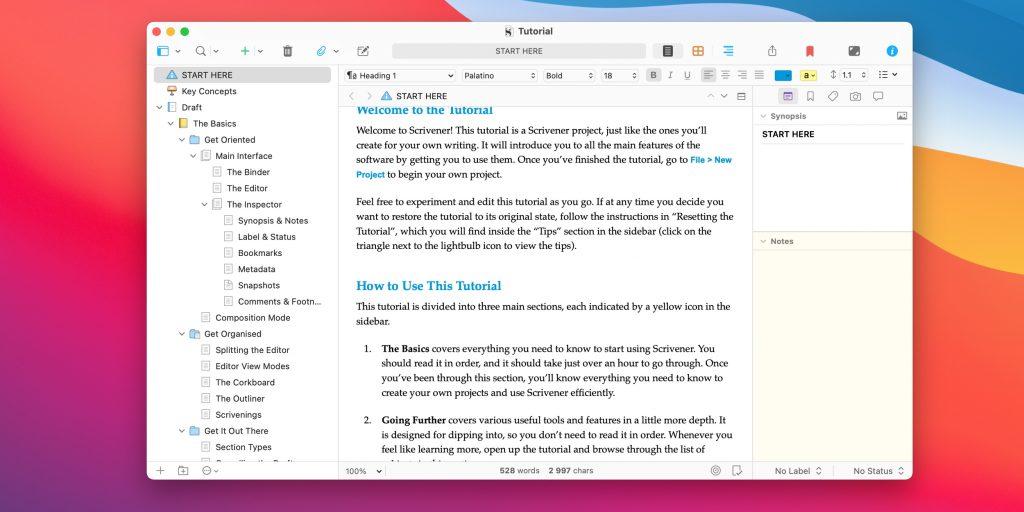 Лучшие текстовые редакторы: Scrivener