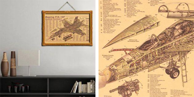 Плакат с Boeing F/A-18F Hornet Strike