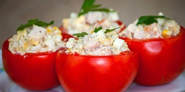 Фаршированные помидоры с творогом и фаршем - рецепт пошаговый с фото