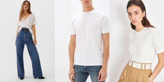 Белая футболка с короткими рукавами