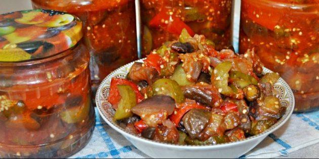 Вкусные баклажаны на зиму: Баклажаны с огурцами и перцем в томатном соусе