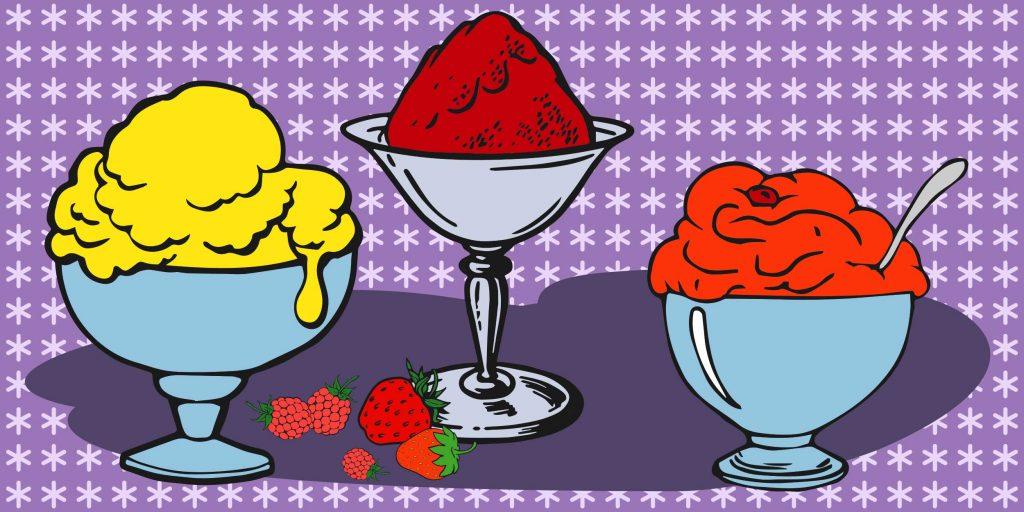 Мороженое с замороженными ягодами