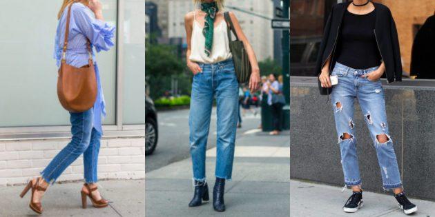 Самые модные женские брюки: Джинсы с необработанным нижним краем
