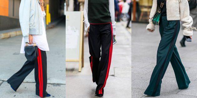 Самые модные женские брюки: Штаны с лампасами