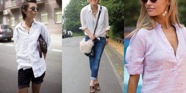Классическая белая рубашка из льна