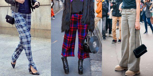 Самые модные женские брюки: Брюки-плед