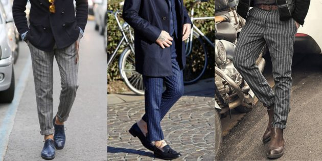 Самые модные мужские брюки: Брюки в вертикальную полоску