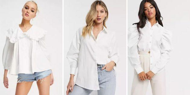 Белая рубашка с объёмными рукавами