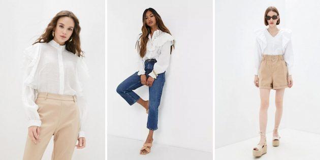 Белая рубашка с оборками и кружевами