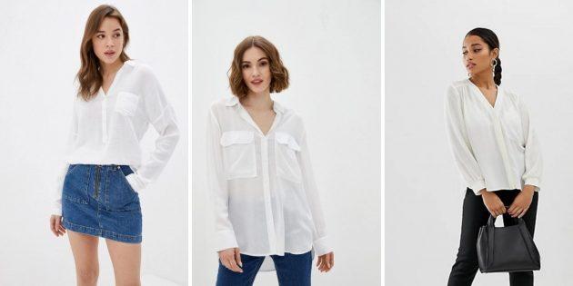 Полупрозрачная рубашка с накладными карманами на груди