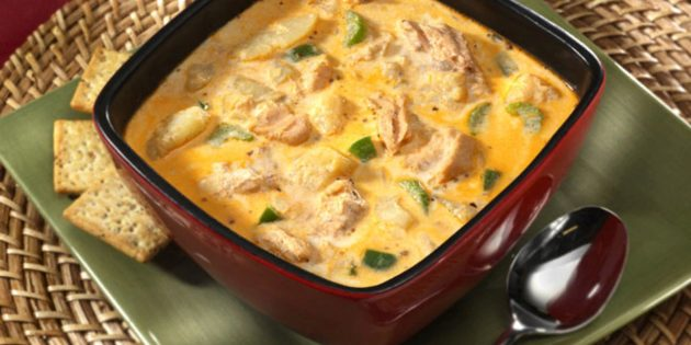 Быстрые и вкусные блюда: Сырный суп с красной рыбой