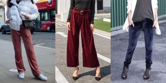 Летняя распродажа одежды и обуви для женщин: Свободные брюки из велюра