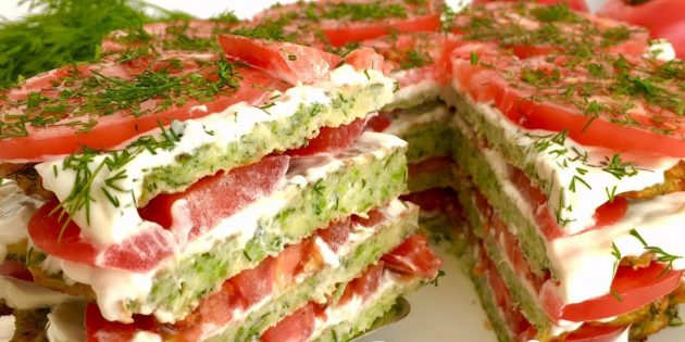 Рецепты: Торт из кабачков с помидорами