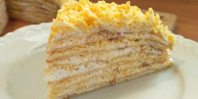 Рецепт: Торт из кабачков с сырной начинкой