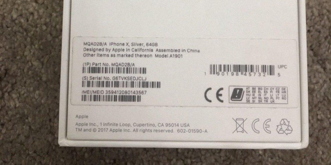 Как проверить айфон перед покупкой: Задняя часть коробки с наклейкой, на которой указаны модель, объём памяти, партномер, IMEI и серийник