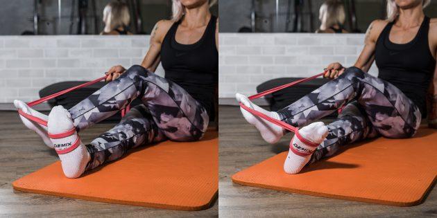 Упражнения при плоскостопии: Разворот стопы с сопротивлением