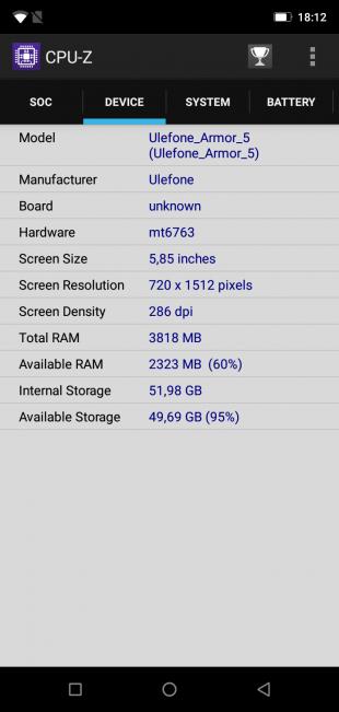 UlefoneArmor5: CPU-Z