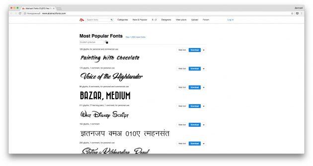 Где скачать шрифты бесплатно: Abstract Fonts