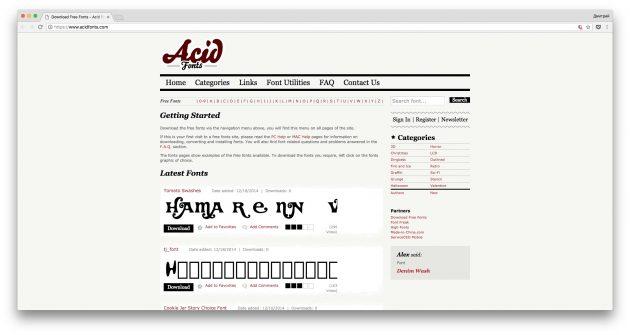 Где скачать шрифты бесплатно: Acid Fonts