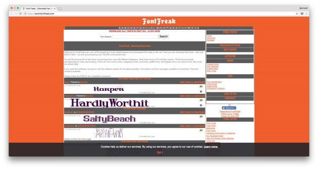 Где скачать шрифты бесплатно: Font Freak