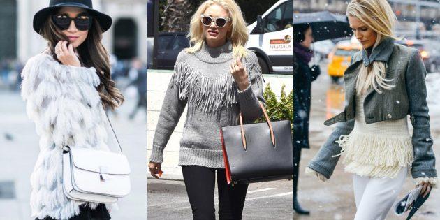 Модные свитера и кардиганы 2018-2019: модели с бахромой