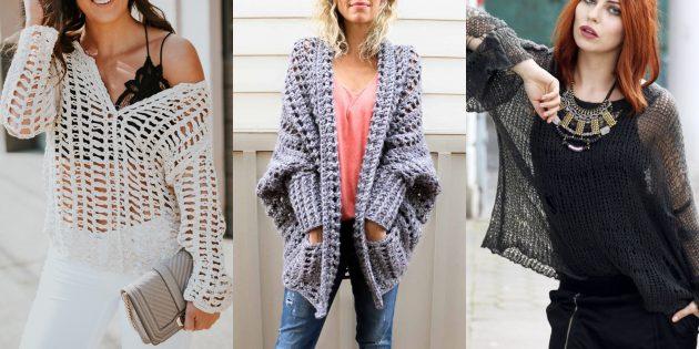 Модные свитера и кардиганы 2018-2019: дырчатая вязка