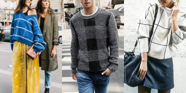 Модные свитера и кардиганы 2018-2019: модели в клетку