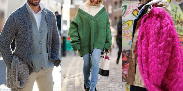 Модные свитера и кардиганы 2018-2019: многослойность
