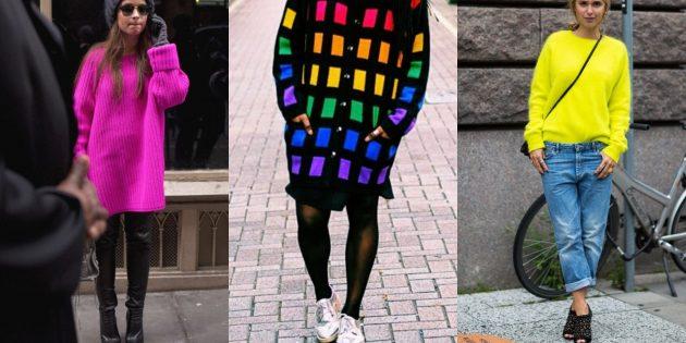 Модные свитера и кардиганы 2018-2019: деликатный неон
