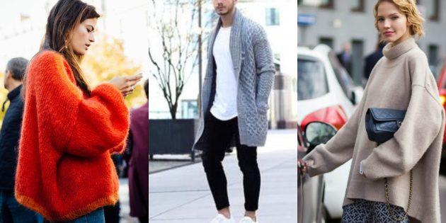 Модные свитера и кардиганы 2018-2019: экстраоверсайз