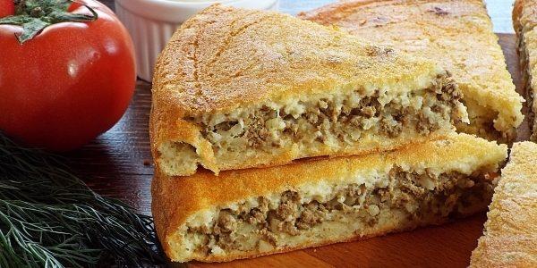 Заливной пирог с печенью и рисом